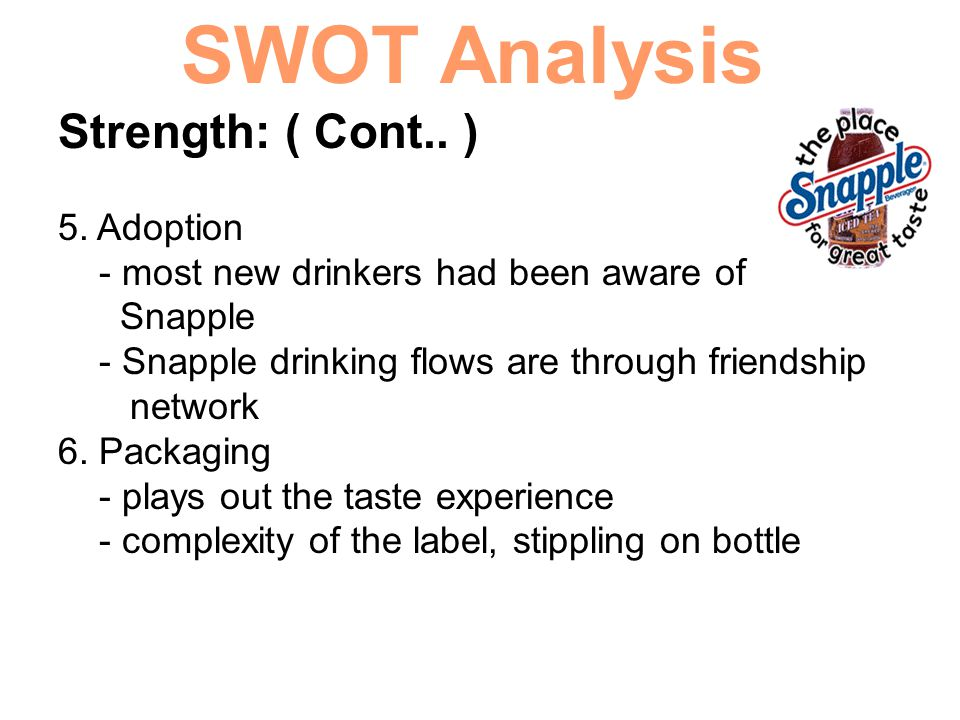 SWOT Analysis Strength: ( Cont.. ) 5. Adoption