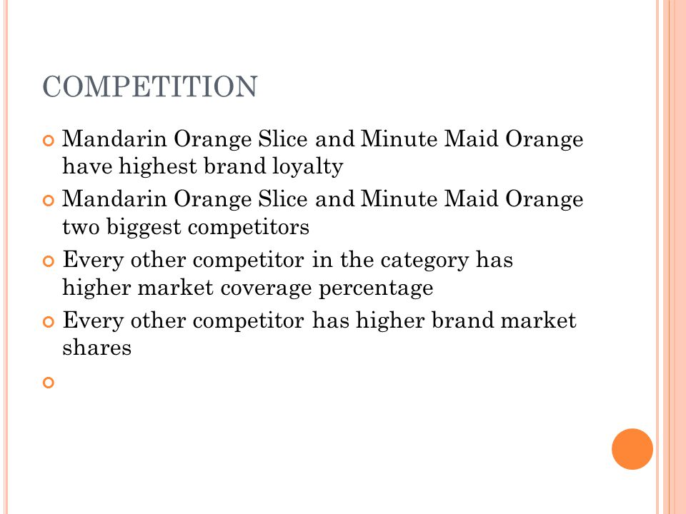 COMPETITION Mandarin Orange Slice and Minute Maid Orange have highest brand loyalty.