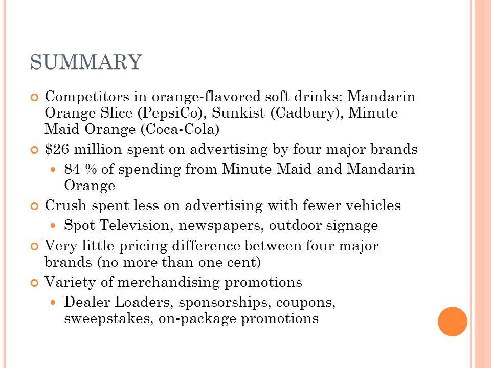 SUMMARY Competitors in orange-flavored soft drinks: Mandarin Orange Slice (PepsiCo), Sunkist (Cadbury), Minute Maid Orange (Coca-Cola)