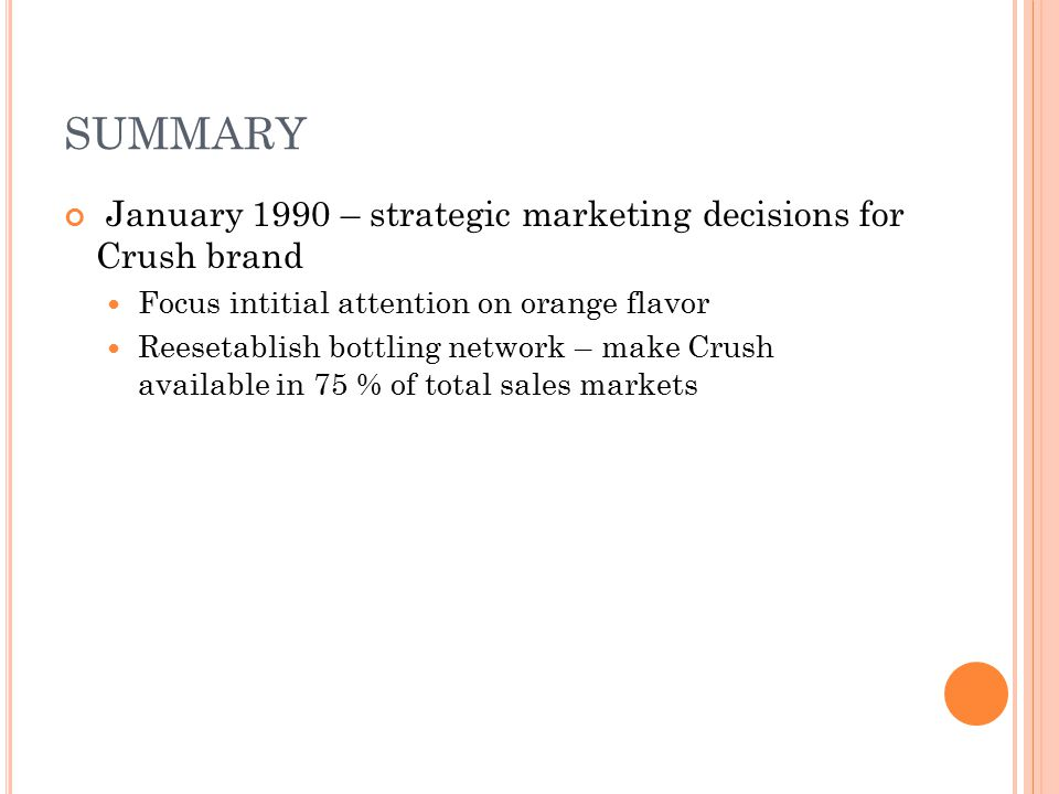 SUMMARY January 1990 – strategic marketing decisions for Crush brand