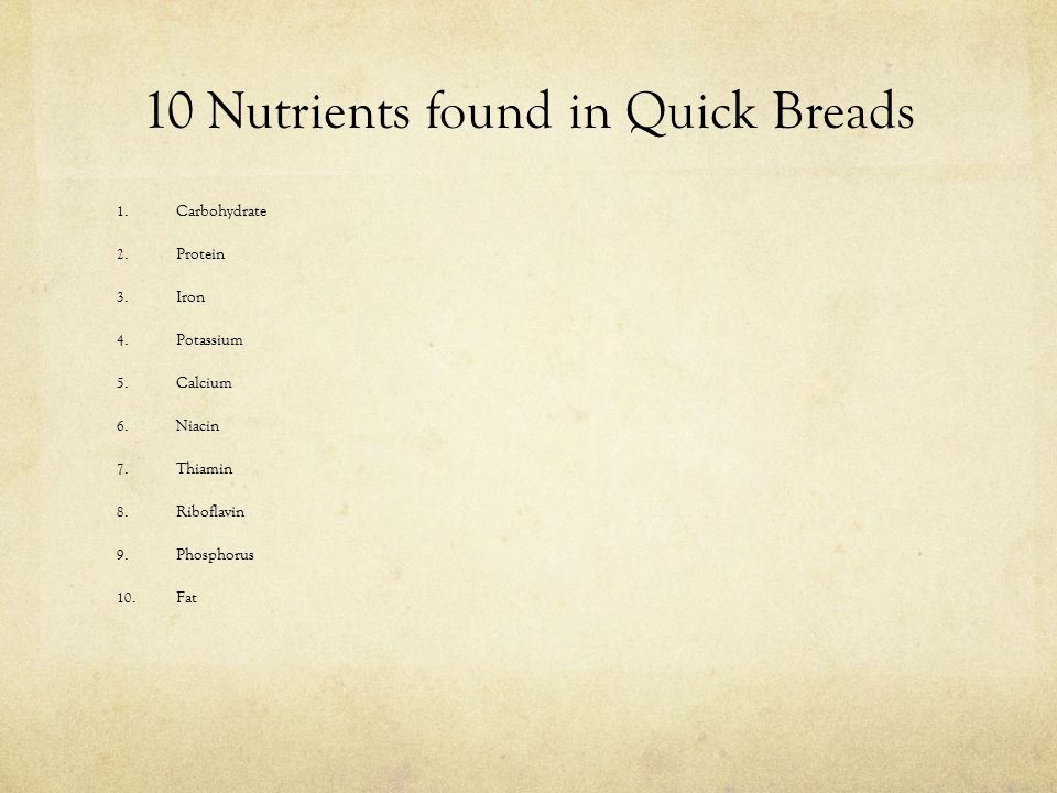 10 Nutrients found in Quick Breads