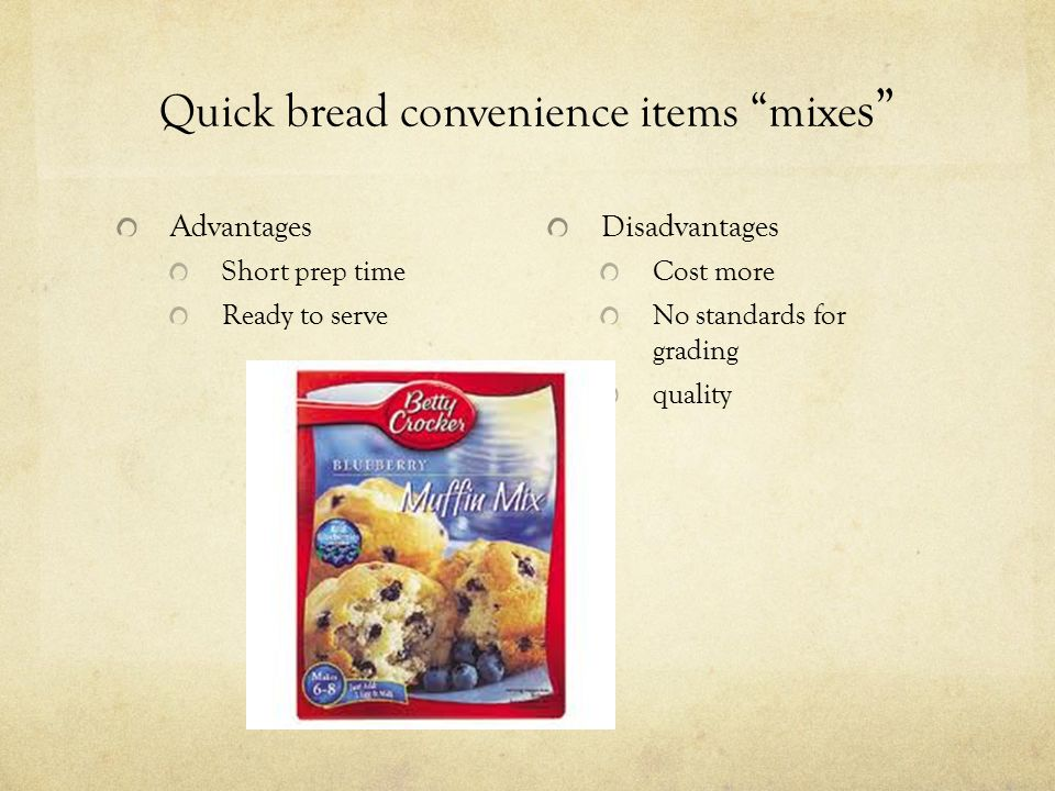 Quick bread convenience items mixes