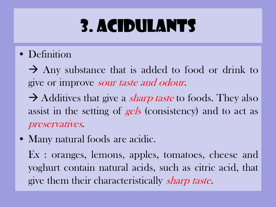 3. acidulants Definition