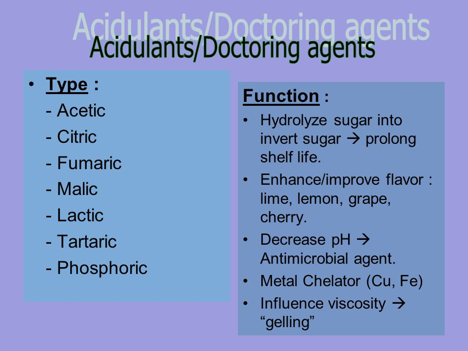 Acidulants/Doctoring agents