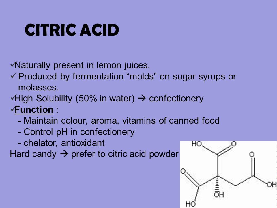 CITRIC ACID Naturally present in lemon juices.