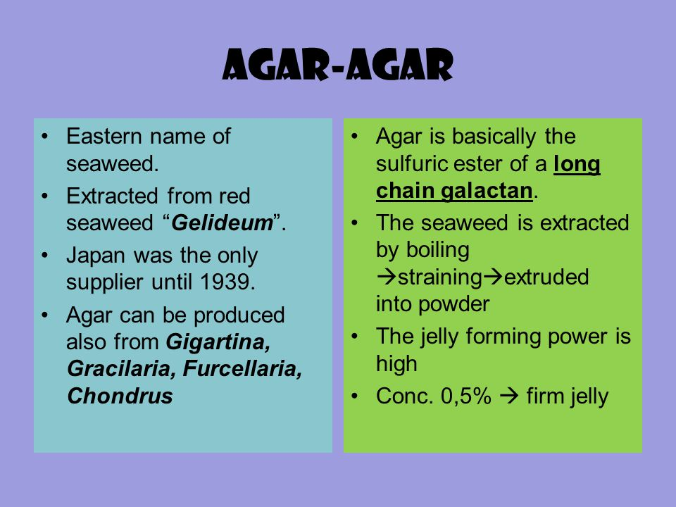 Agar-agar Eastern name of seaweed.