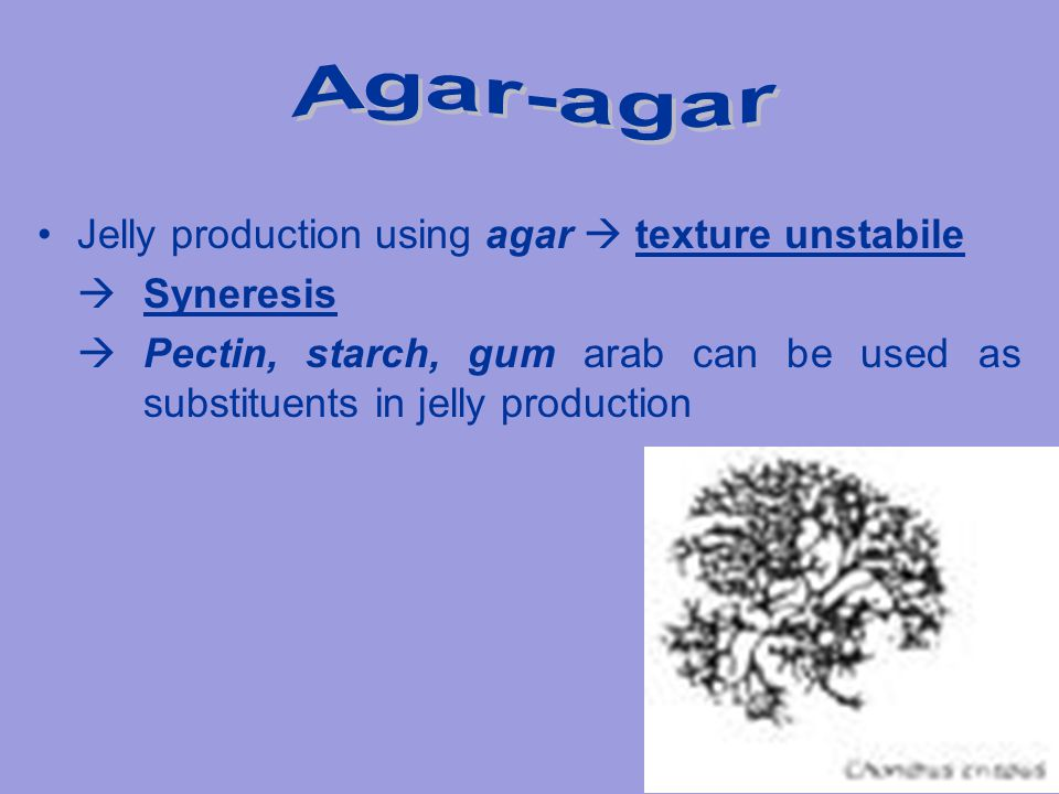 Agar-agar Jelly production using agar  texture unstabile  Syneresis