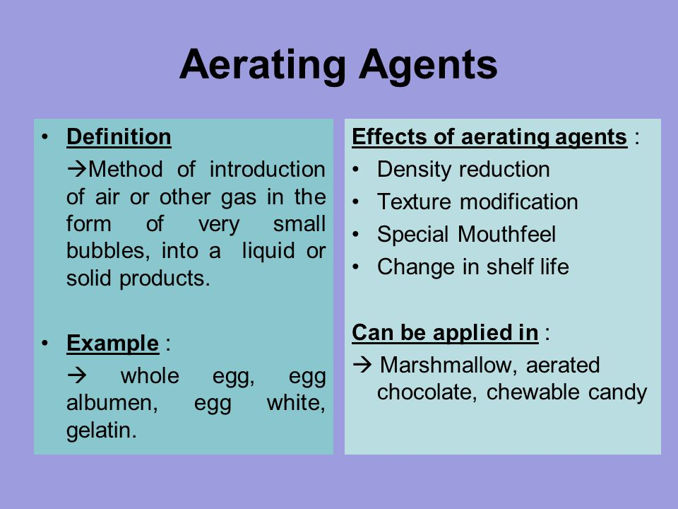 Aerating Agents Definition