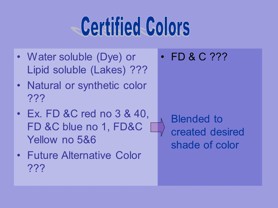 Certified Colors Water soluble (Dye) or Lipid soluble (Lakes)