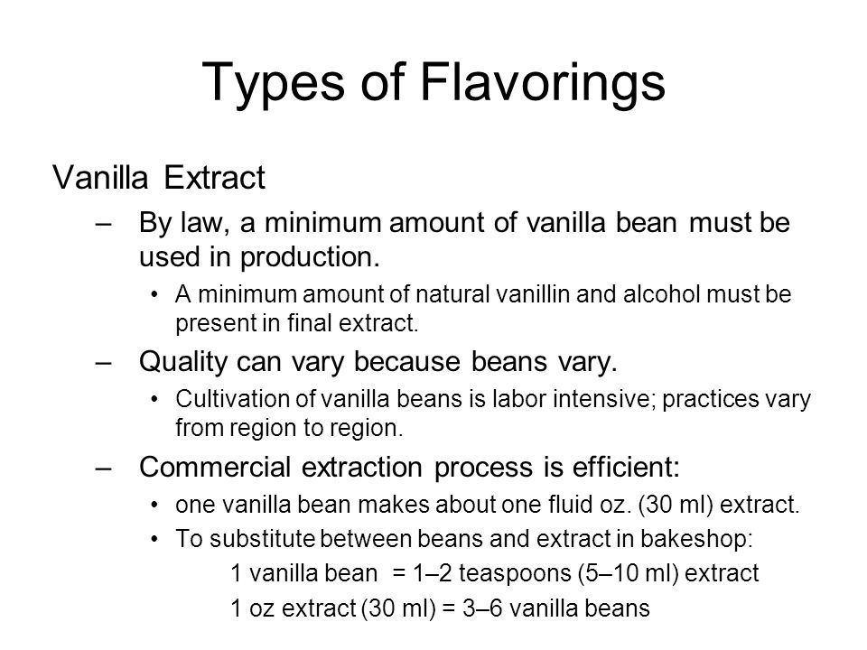 Types of Flavorings Vanilla Extract