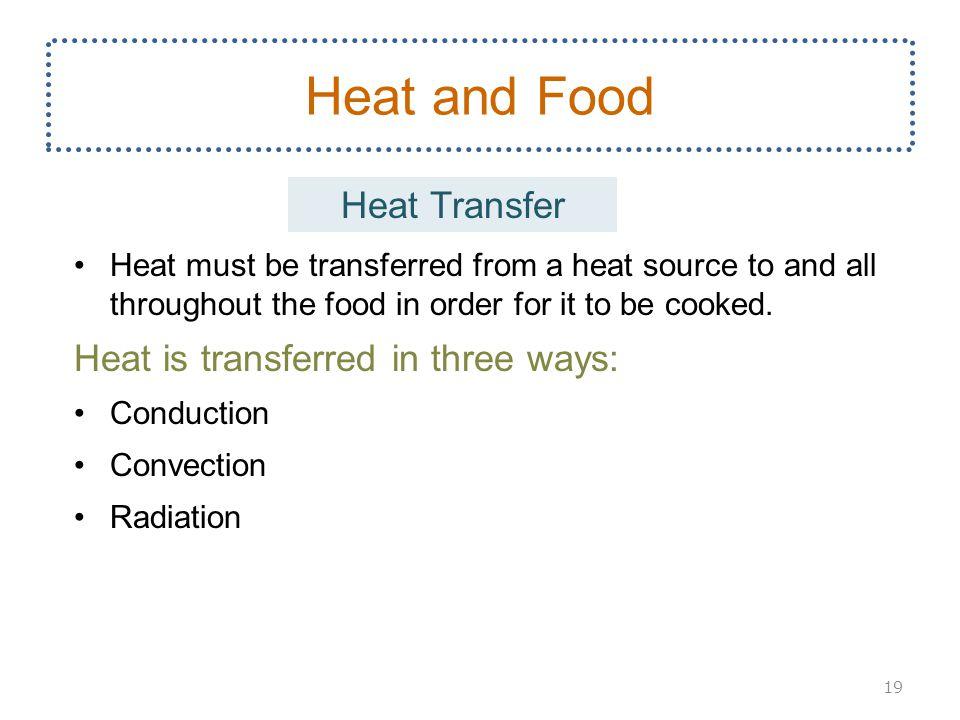 Heat and Food Heat Transfer Heat is transferred in three ways: