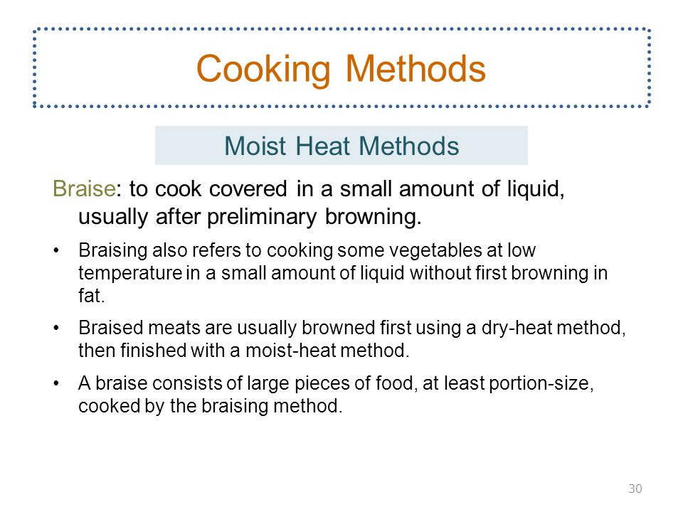 Cooking Methods Moist Heat Methods