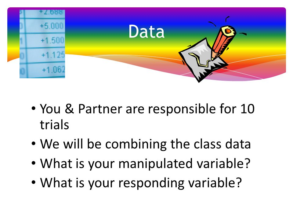 Data You & Partner are responsible for 10 trials