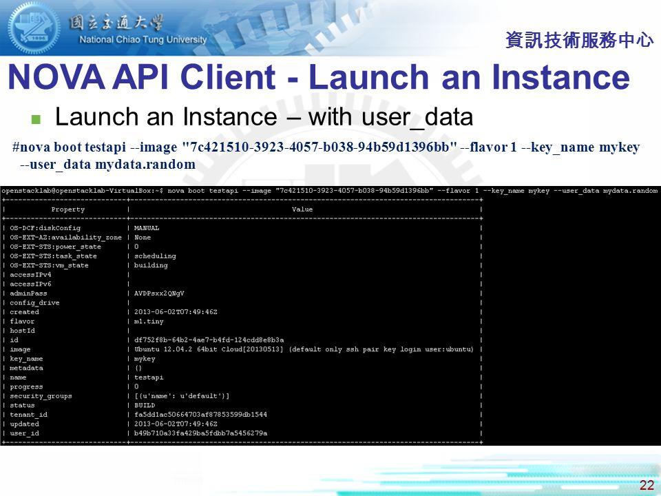 NOVA API Client - Launch an Instance