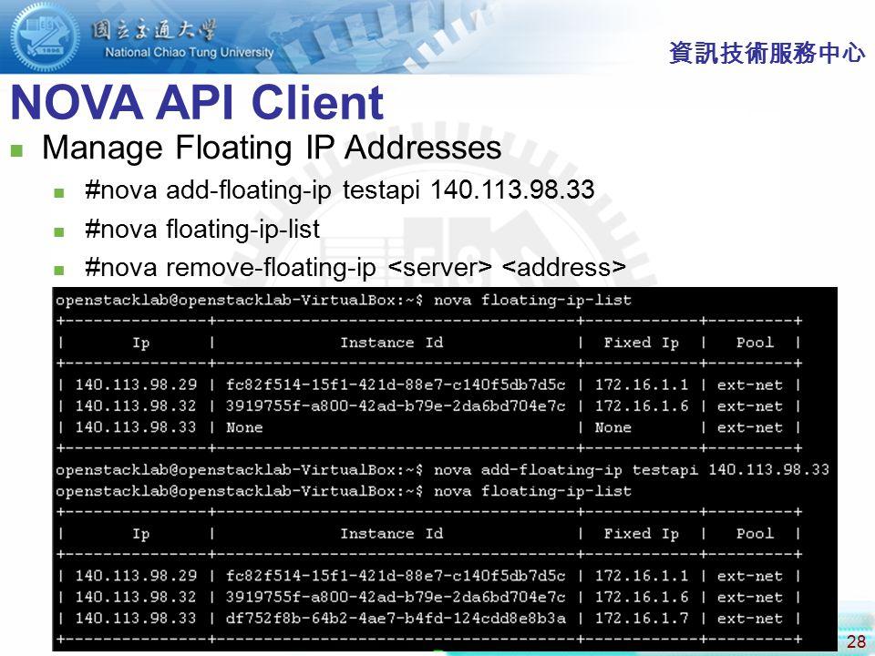 NOVA API Client Manage Floating IP Addresses