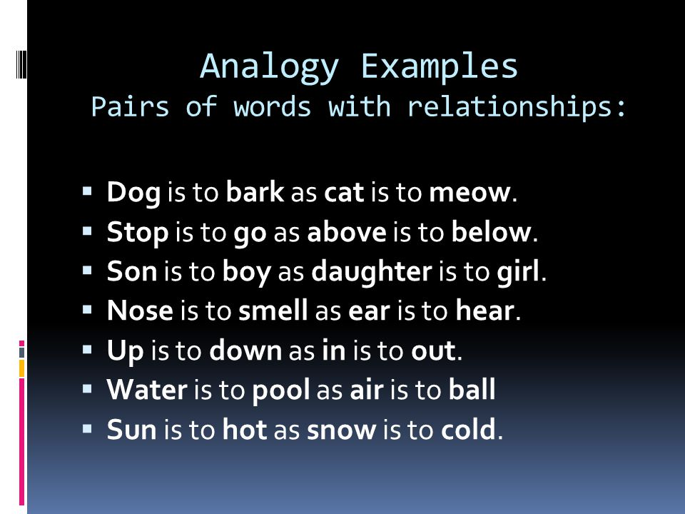 Analogy Examples Pairs of words with relationships: