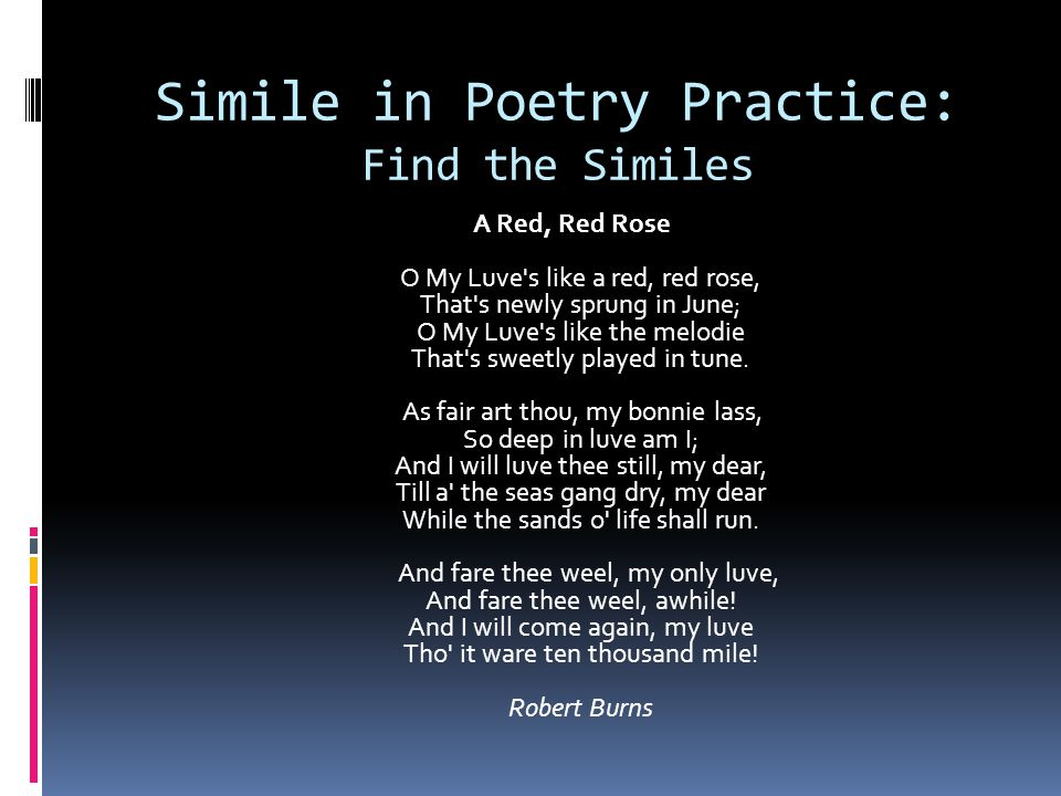 Simile in Poetry Practice: Find the Similes
