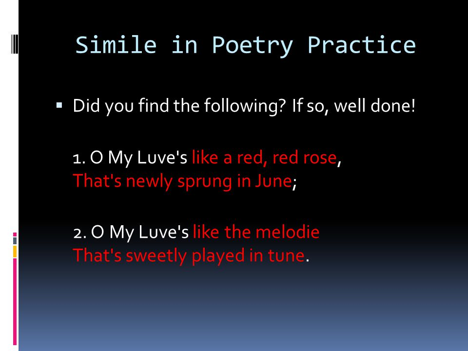 Simile in Poetry Practice