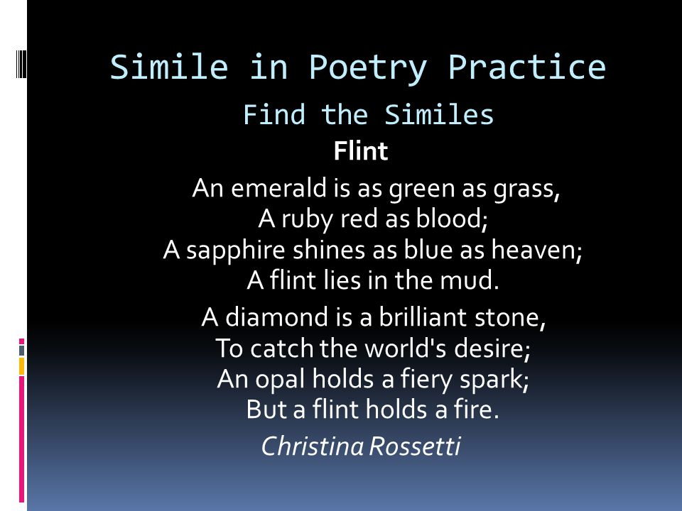 Simile in Poetry Practice Find the Similes