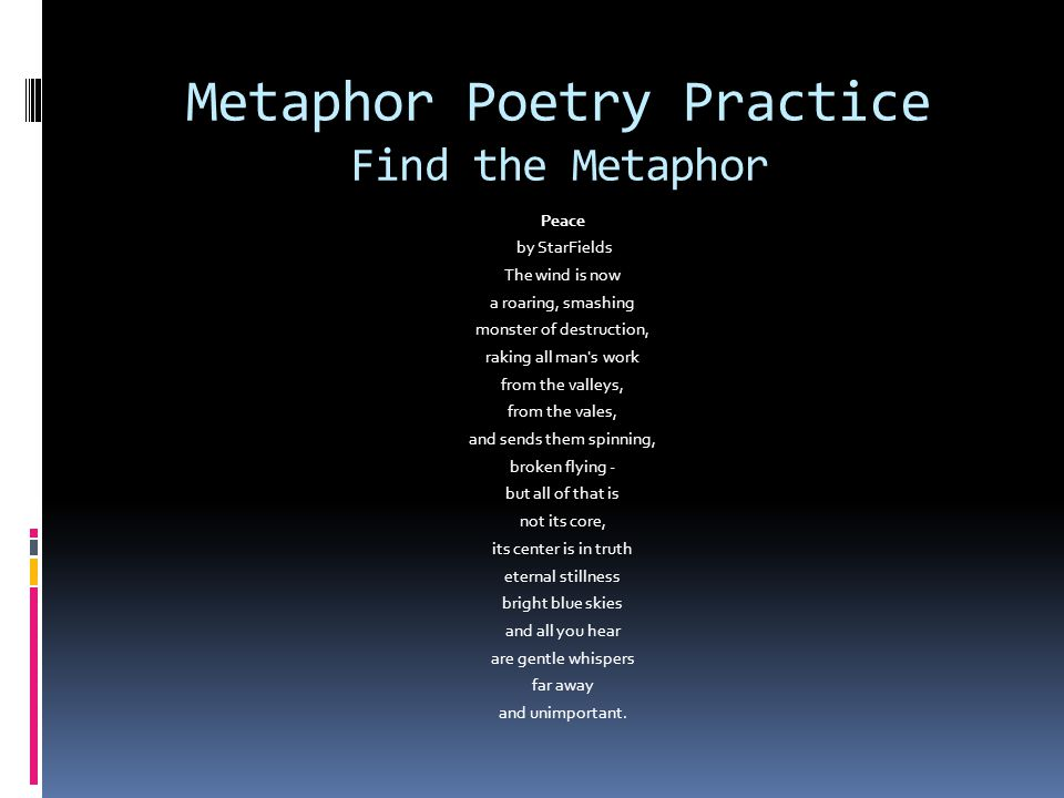 Metaphor Poetry Practice Find the Metaphor