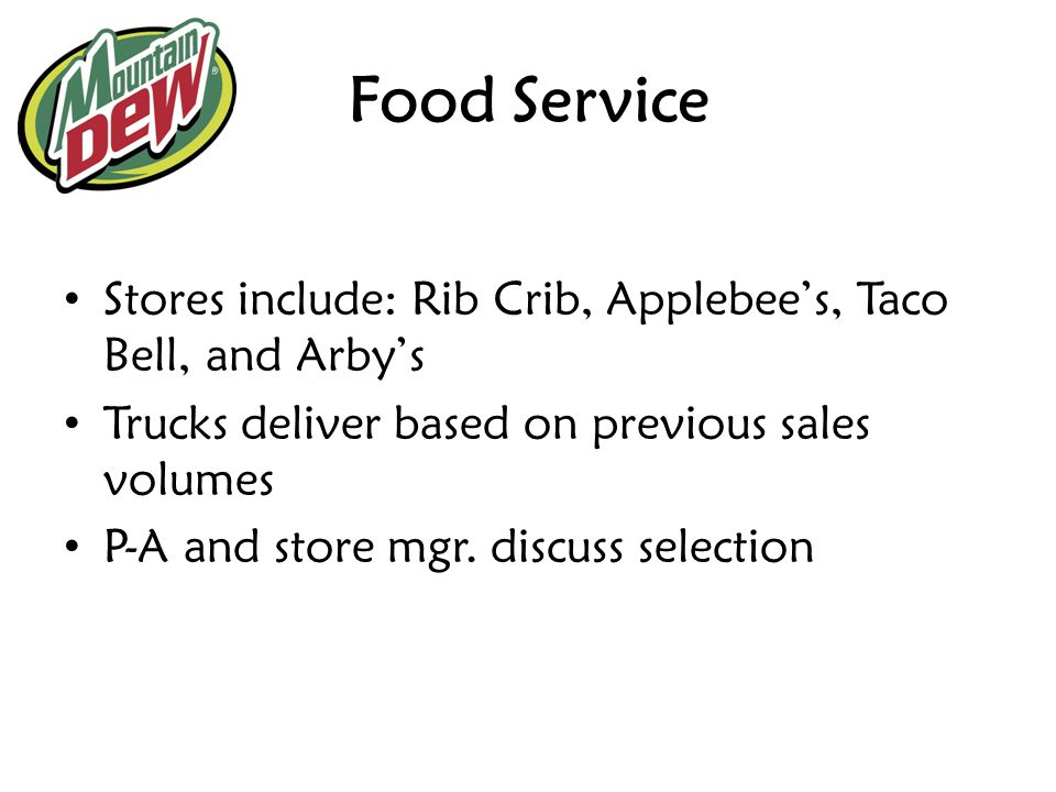 Food Service Stores include: Rib Crib, Applebee's, Taco Bell, and Arby's. Trucks deliver based on previous sales volumes.
