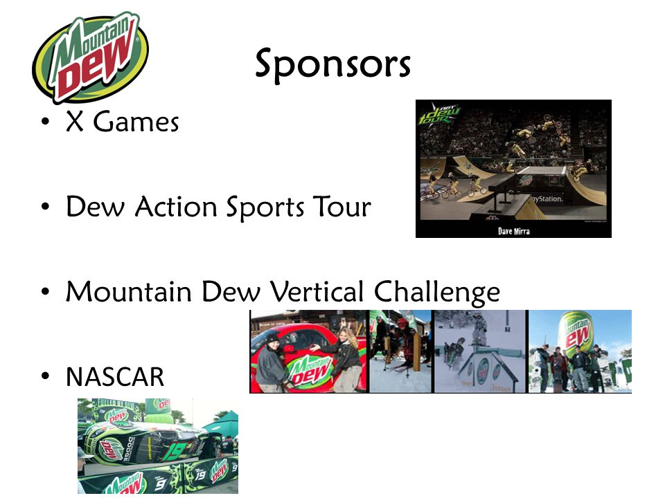 Sponsors X Games Dew Action Sports Tour