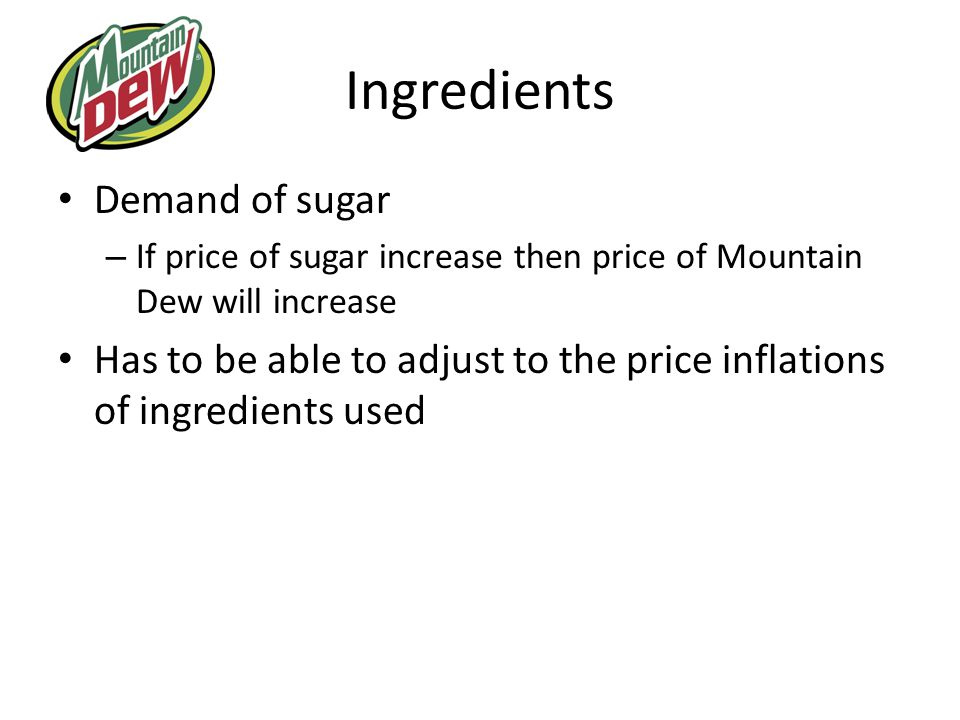 Ingredients Demand of sugar