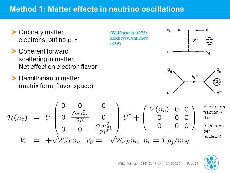 Method 1: Matter effects in neutrino oscillations