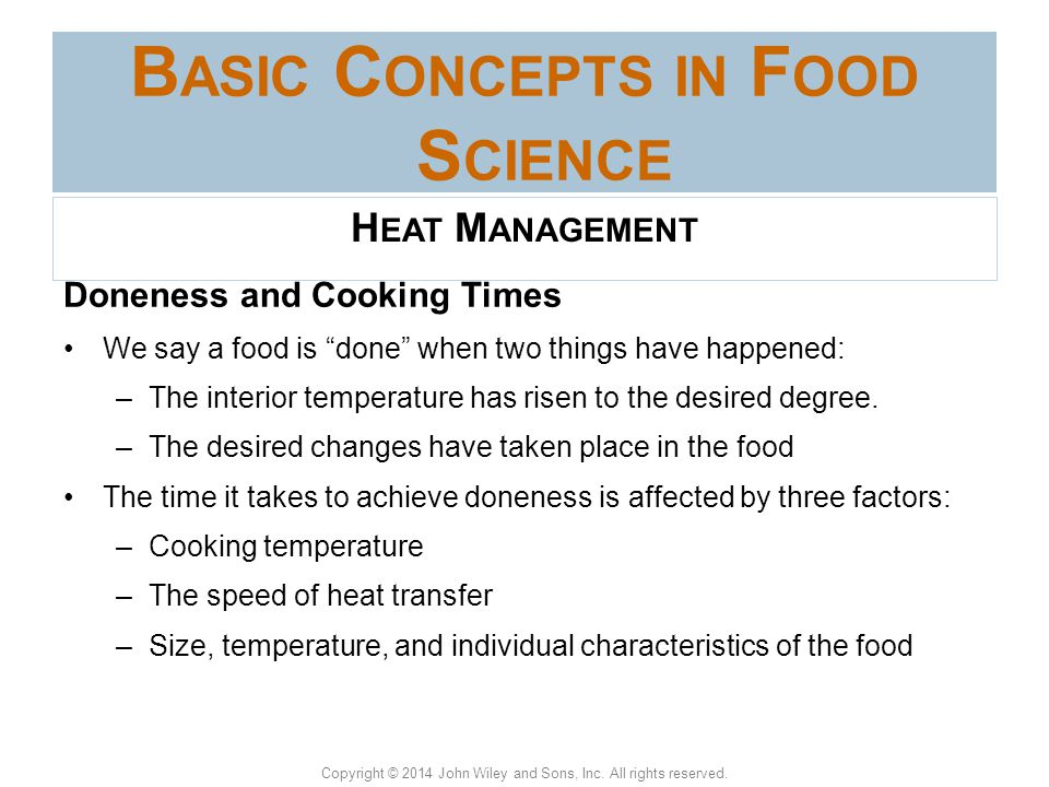 Basic Concepts in Food Science