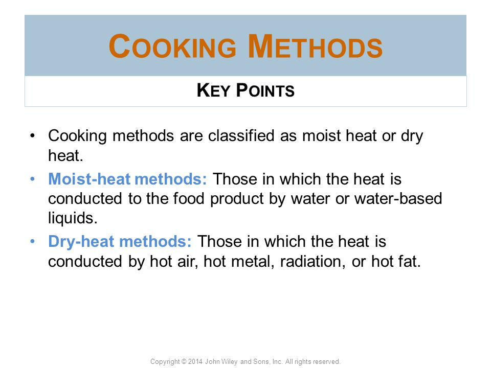 Cooking Methods Key Points