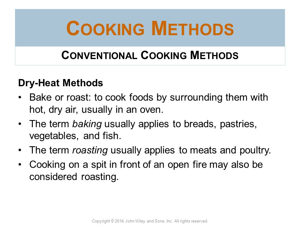 Conventional Cooking Methods