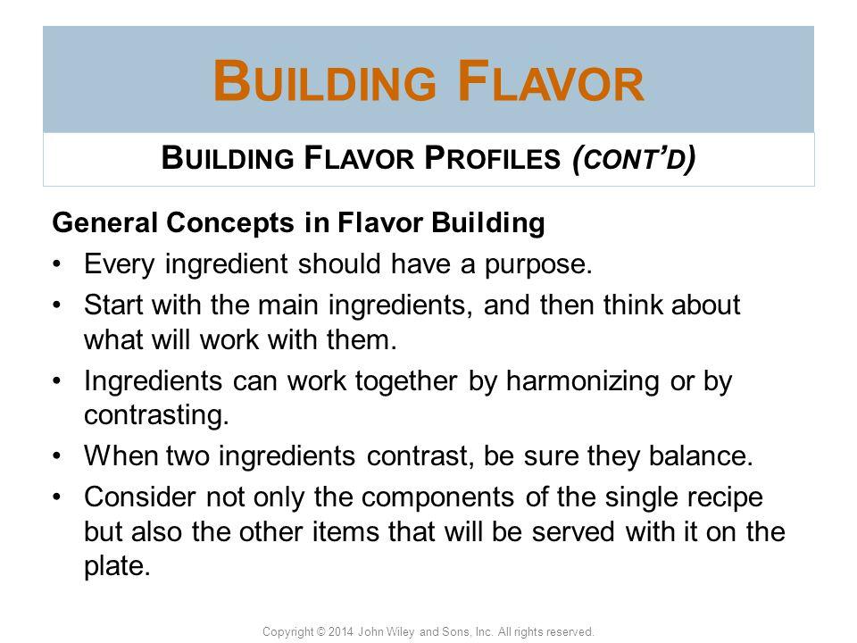 Building Flavor Profiles (cont'd)