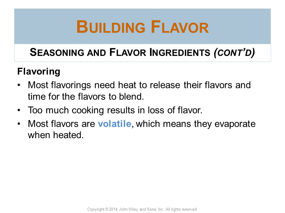 Seasoning and Flavor Ingredients (cont'd)