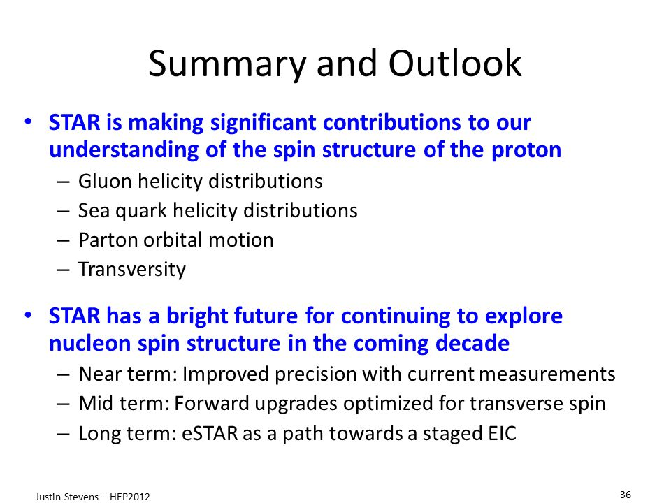 Summary and Outlook STAR is making significant contributions to our understanding of the spin structure of the proton.