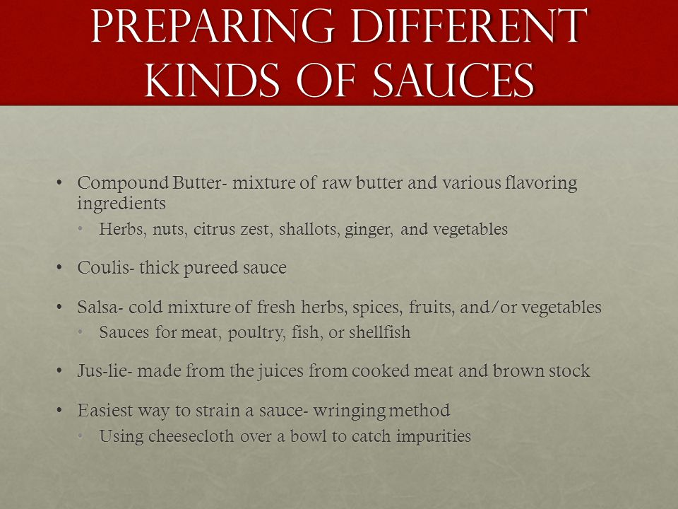 Preparing Different Kinds of Sauces