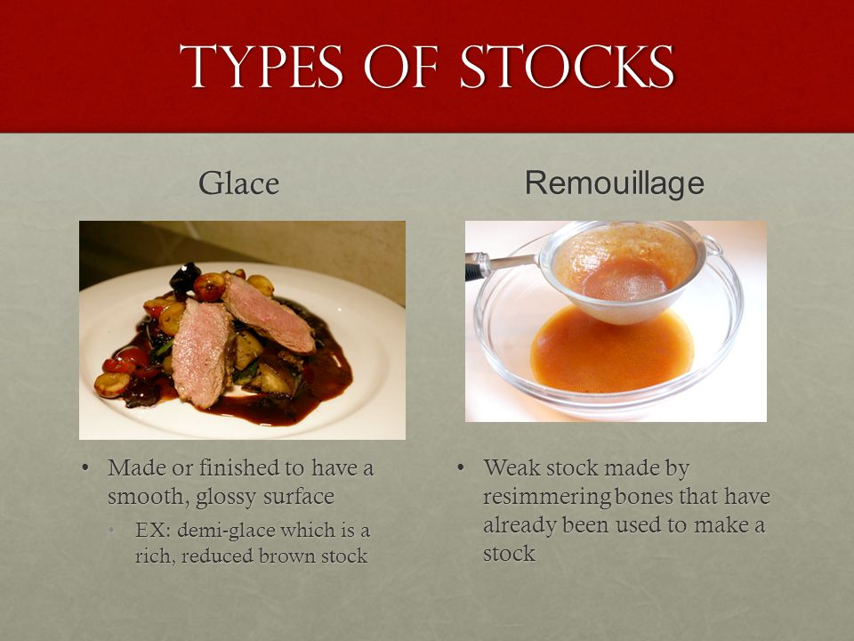 Types of Stocks Glace Remouillage
