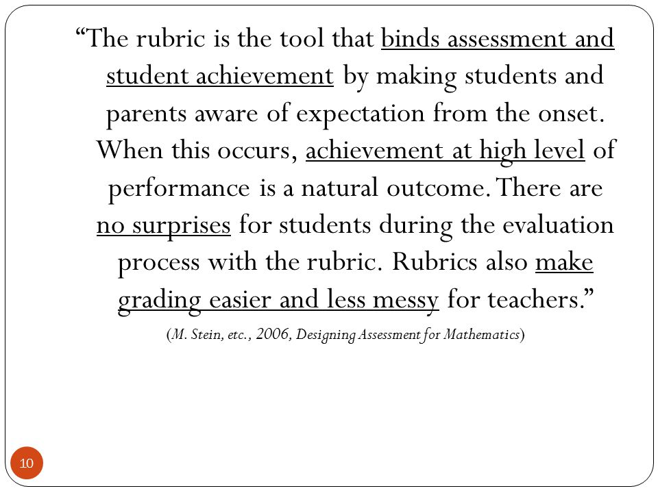 (M. Stein, etc., 2006, Designing Assessment for Mathematics)
