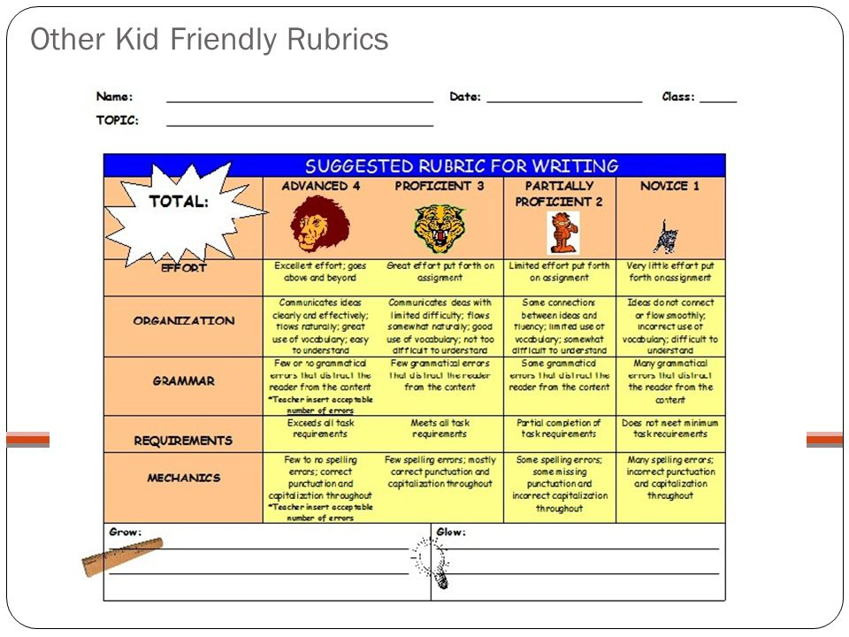 Other Kid Friendly Rubrics
