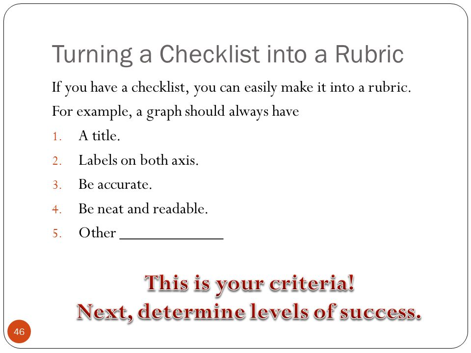 Turning a Checklist into a Rubric