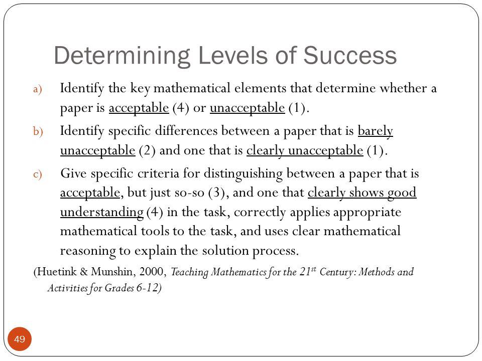 Determining Levels of Success