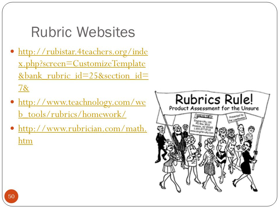 Rubric Websites http://rubistar.4teachers.org/inde x.php screen=CustomizeTemplate &bank_rubric_id=25&section_id= 7&