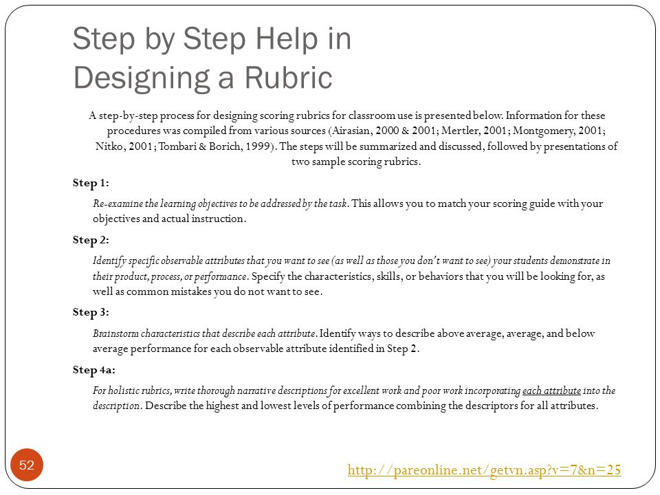 Step by Step Help in Designing a Rubric