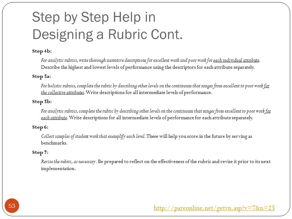 Step by Step Help in Designing a Rubric Cont.