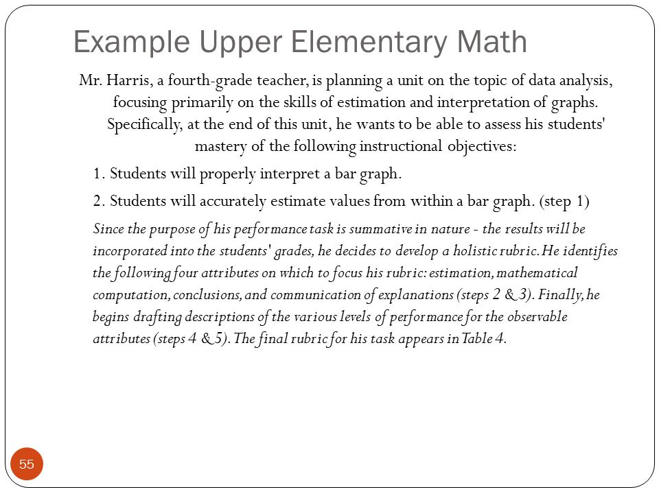 Example Upper Elementary Math