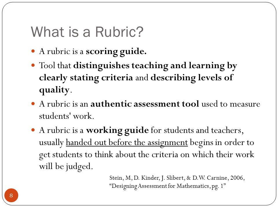 What is a Rubric A rubric is a scoring guide.