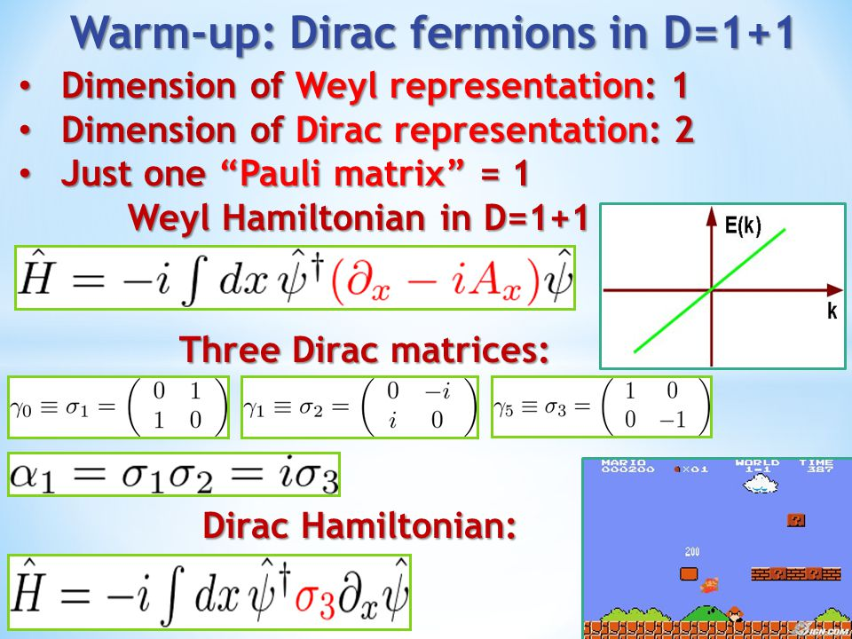 Warm-up: Dirac fermions in D=1+1