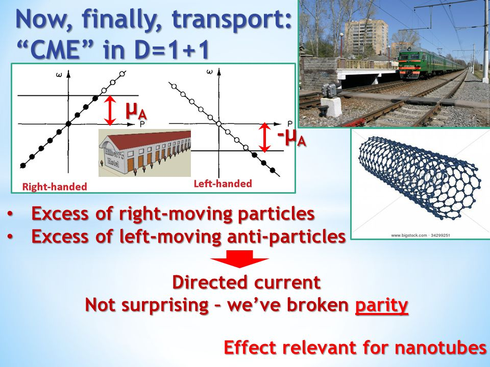 Now, finally, transport: CME in D=1+1
