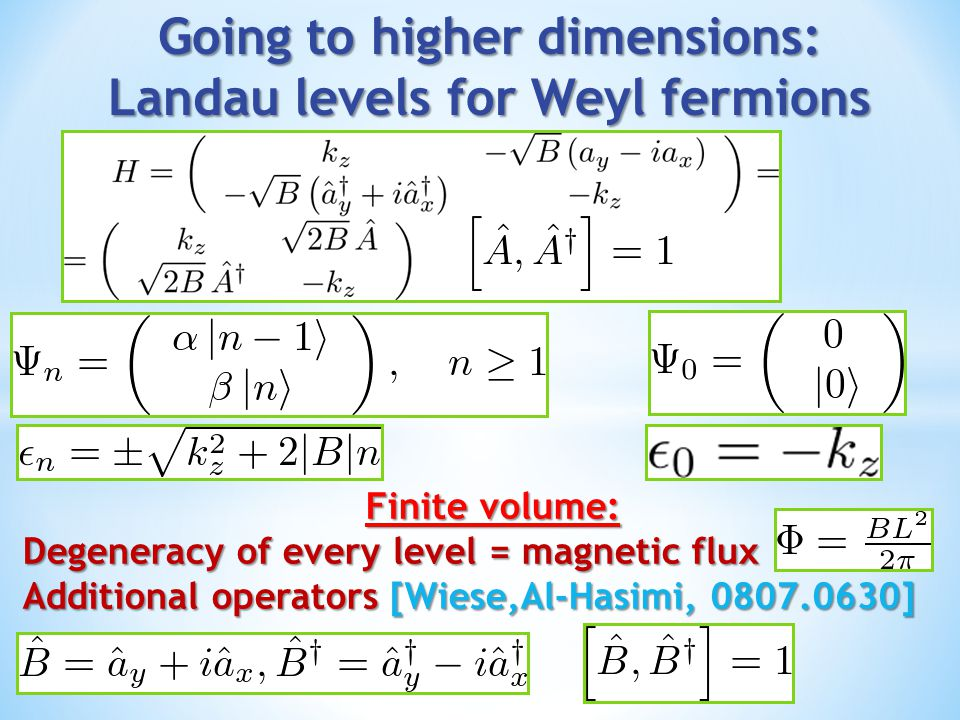 Going to higher dimensions: Landau levels for Weyl fermions