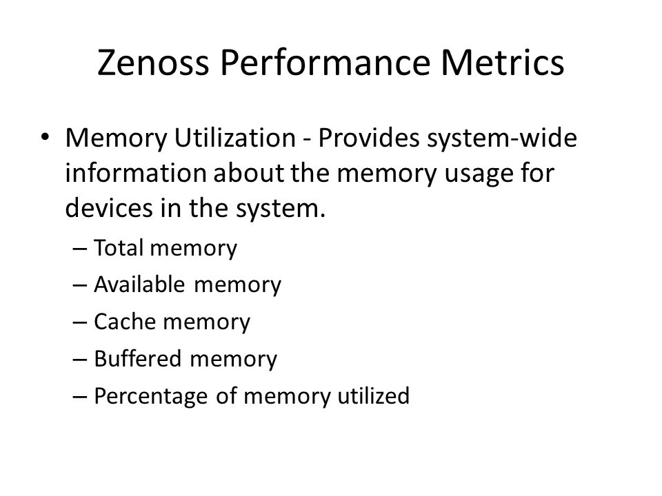 Zenoss Performance Metrics