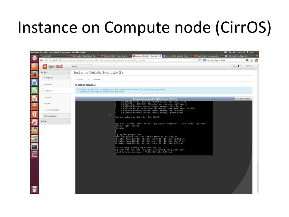 Instance on Compute node (CirrOS)